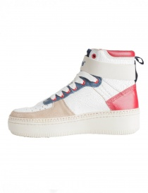 BePositive Veeshoes white red blue high top sneakers for women