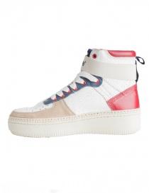 Sneakers alte BePositive Veeshoes bianche rosse blu da donna