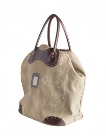 Carnet bag in leather and beige canvas GD-CM10017 XLARGE