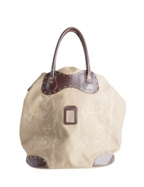 Carnet bag in leather and beige canvas buy online