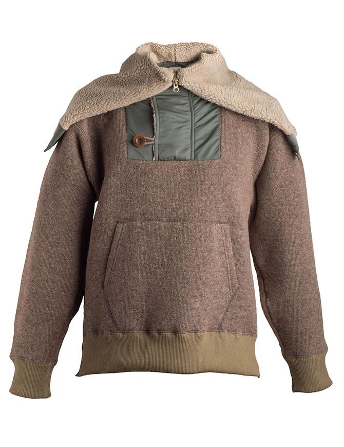 Kolor beige wool jacket with hool 18WRM-T01232 A-BEIGE mens jackets online shopping