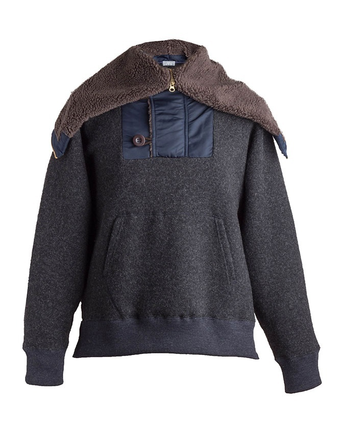Kolor charcoal wool jacket with hood 18WBM-T01232 B-CHARCOAL mens jackets online shopping