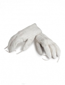 Gloves online: Carol Christian Poell light grey kangaroo leather gloves with tassels
