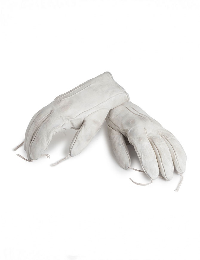 Carol Christian Poell light grey kangaroo leather gloves with tassels AM/2300 ROOMS-PTC/33 gloves online shopping