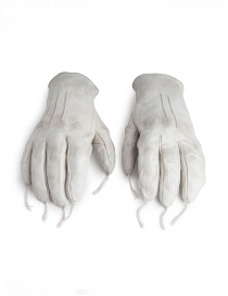 Carol Christian Poell light grey kangaroo leather gloves with tassels