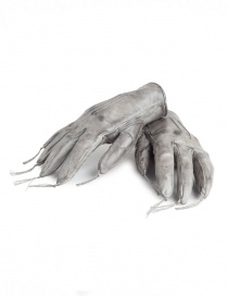Gloves online: Carol Christian Poell kangaroo grey leather gloves with tassels