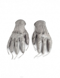 Carol Christian Poell kangaroo grey leather gloves with tassels