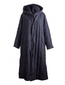 Womens coats online: Plantation blue crinkled long coat