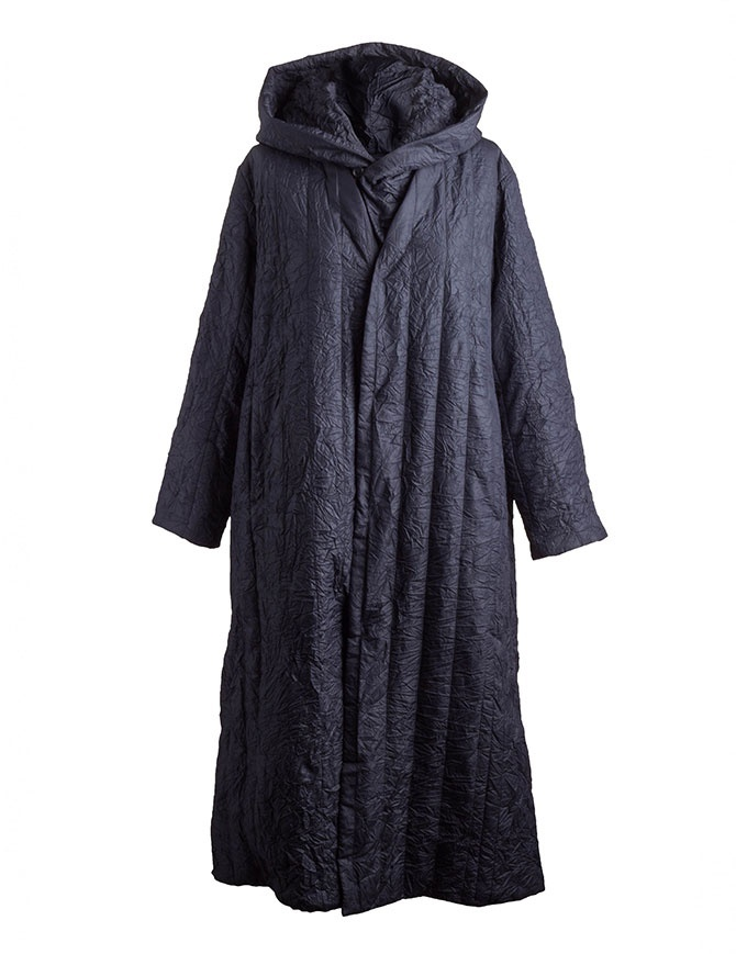 Plantation blue crinkled long coat PL88FA719-13 NAVY womens coats online shopping
