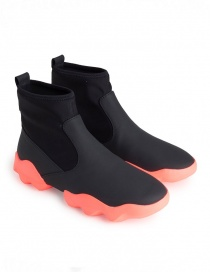 Womens shoes online: Dub Camper high-top sneakers in black and fluo pink