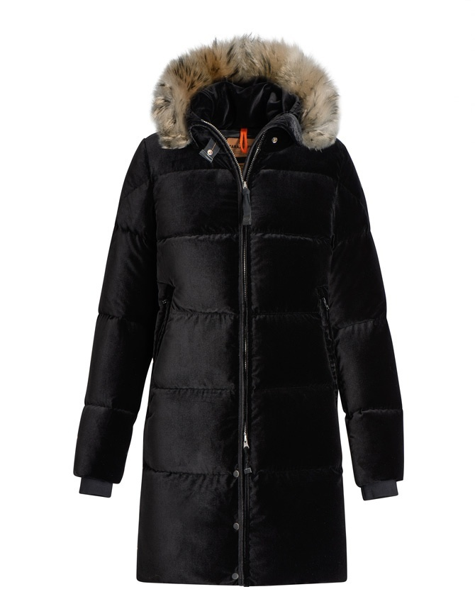Parajumpers Sindy Limited Edition black velvet coat PW JCK LI33 SINDY 541 womens coats online shopping