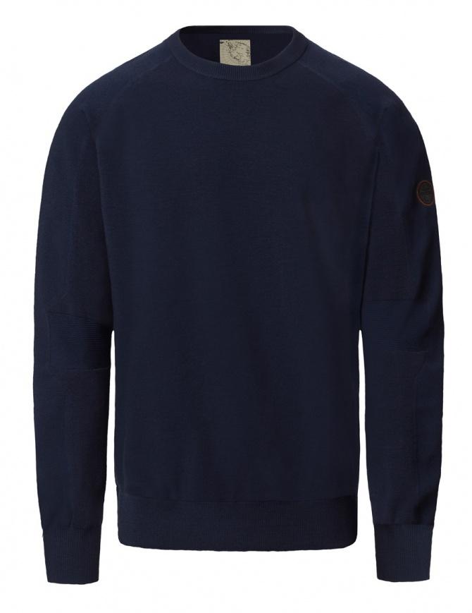 Ze-Knit by Napapijri crew neck blue navy pullover Ze-K106 N0YHW0176-ZE-K106 BLU MAR mens knitwear online shopping