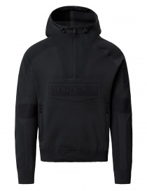 Mens knitwear online: Ze-Knit by Napapijri Rainforest Ze-K103 hooded sweatshirt in black