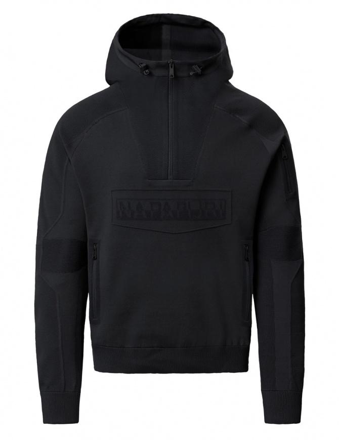 Ze-Knit Napapijri Felpa Rainforest Ze-K103 nera con cappuccio N0YI3O041-ALT5 BLACK maglieria uomo online shopping