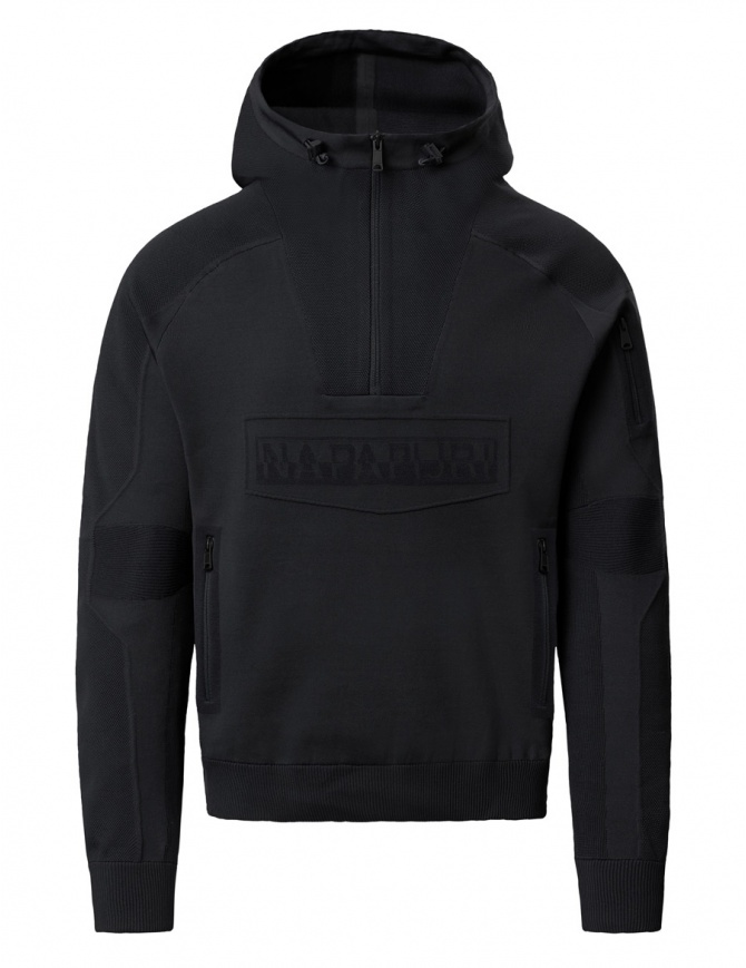 Ze-Knit Napapijri Rainforest Ze-K103 black hooded sweatshirt N0YI3O041-ALT5 BLACK mens knitwear online shopping