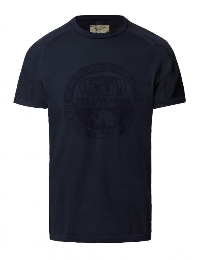 Ze-Knit by Napapijri blue T-shirt Ze-K109 N0YI3Q176-ZE-K109 BLU MAR mens t shirts online shopping