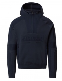 Mens knitwear online: Ze-Knit by Napapijri Rainforest Ze-K103 hooded sweatshirt in blue