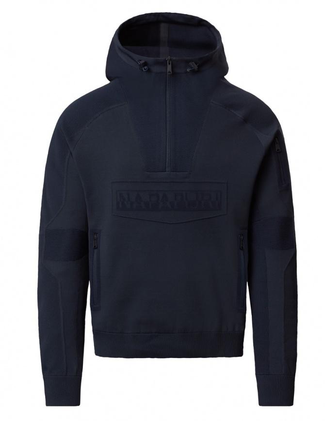 Ze-Knit by Napapijri Rainforest Ze-K103 hooded sweatshirt in blue N0YHW2176-ZE-K103-BLUE mens knitwear online shopping