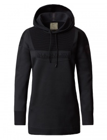 Womens knitwear online: Ze-knit by Napapijri Ze-K206 long hooded black sweatshirt