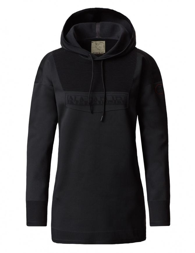 Felpa lunga con cappuccio Ze-K206 Zeknit by Napapijri nera N0YI2V041-ZE-K206-BLACK maglieria donna online shopping
