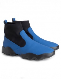 Womens shoes online: Dub Camper high-top sneakers in black and electric blue
