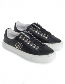 BePositive black studded sneakers for men 8FARIA15/LEA/BLK-TRACK_04 order online