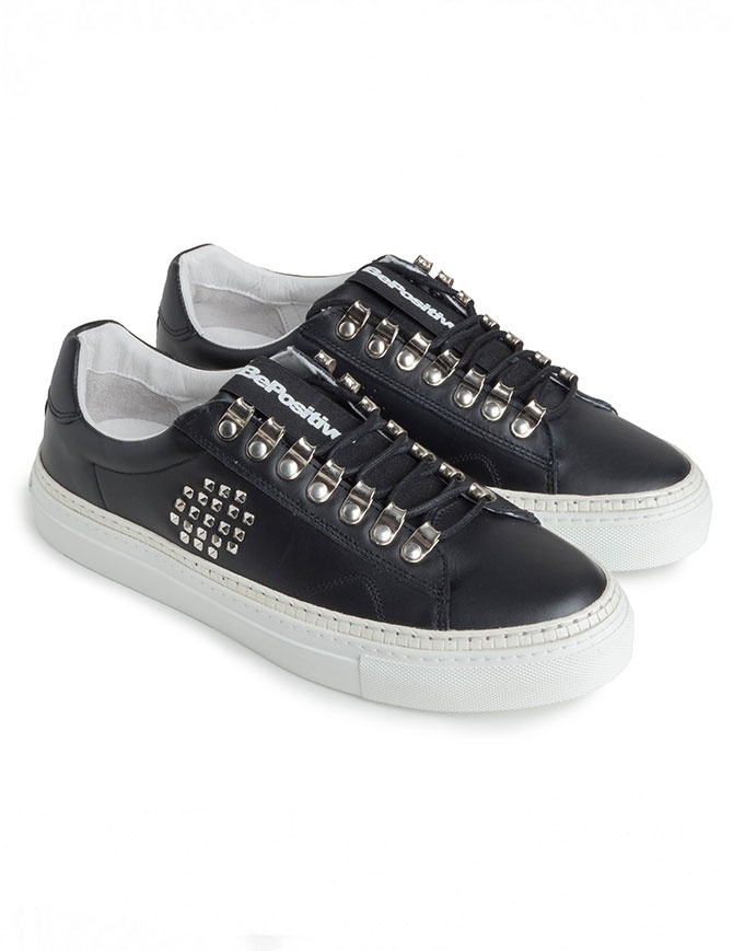 BePositive black studded sneakers for men 8FARIA15/LEA/BLK-TRACK_04 mens shoes online shopping