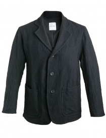 Mens suit jackets online: Sage de Cret wrinkled wool black jacket
