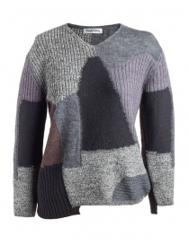 Womens knitwear online: Fuga Fuga Faha Pullover with patchwork effect