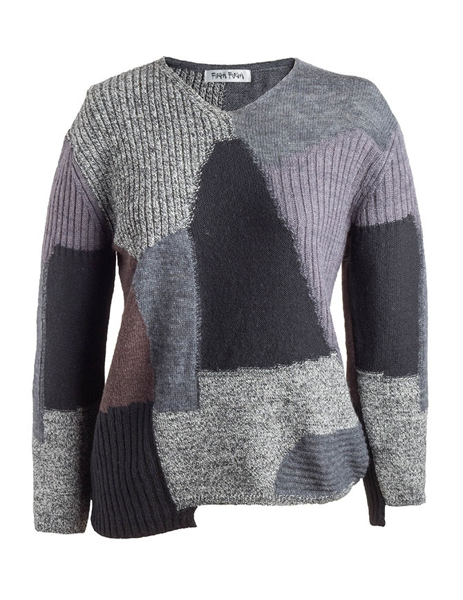 Fuga Fuga Faha Pullover with patchwork effect FAHA122W BLK PULLOVER womens knitwear online shopping