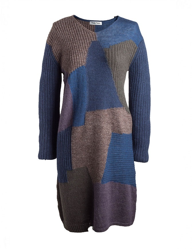 Fuga Fuga Faha blue brown violet wool dress FAHA123W BLUE DRESS womens dresses online shopping