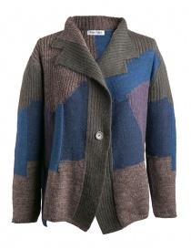 Cardigan Fuga Fuga Faha blu marrone grigio e lavanda FAHA124W-51 BLUE order online