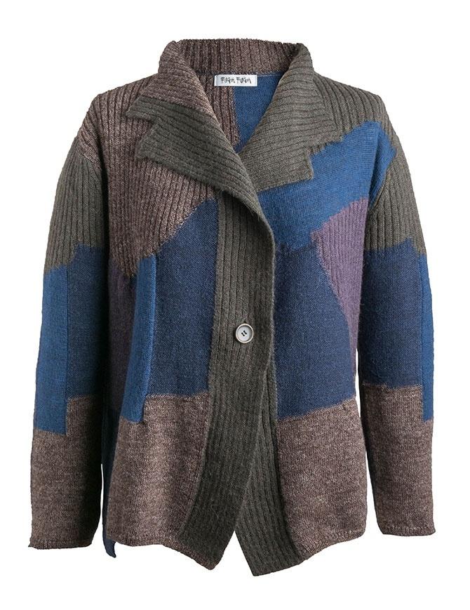 Cardigan Fuga Fuga Faha blu marrone grigio e lavanda FAHA124W BLUE PULLOVER cardigan donna online shopping