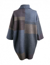 M.&Kyoko egg-shaped brown beige blue striped coat
