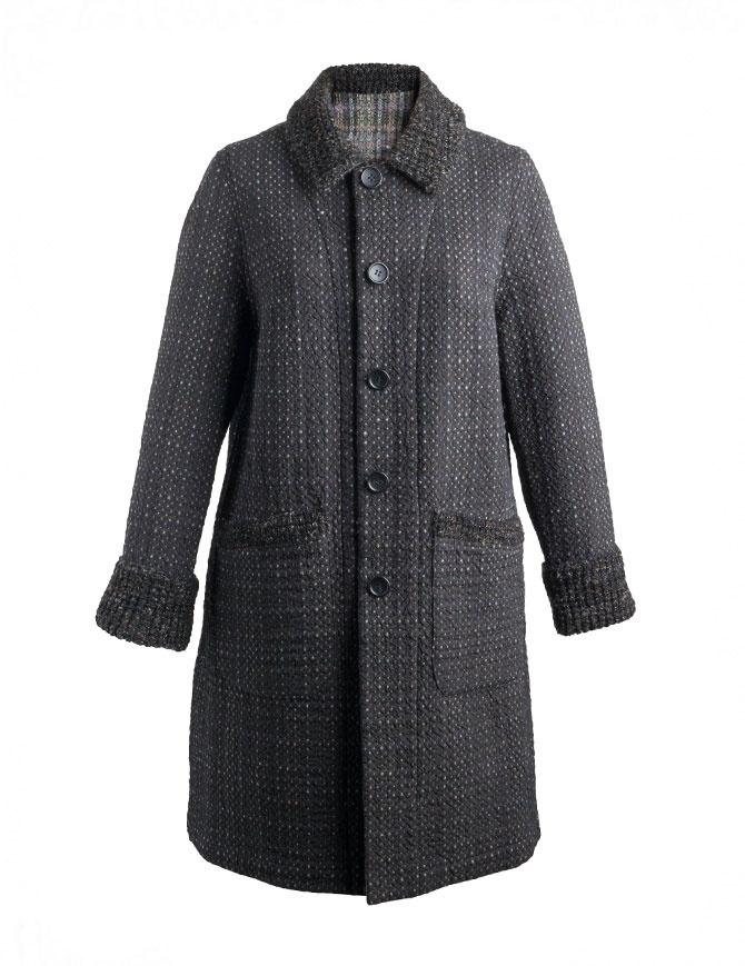 M.&Kyoko Kaha reversible coat black/colored checks KAHA752W-81 BLACK COAT womens coats online shopping