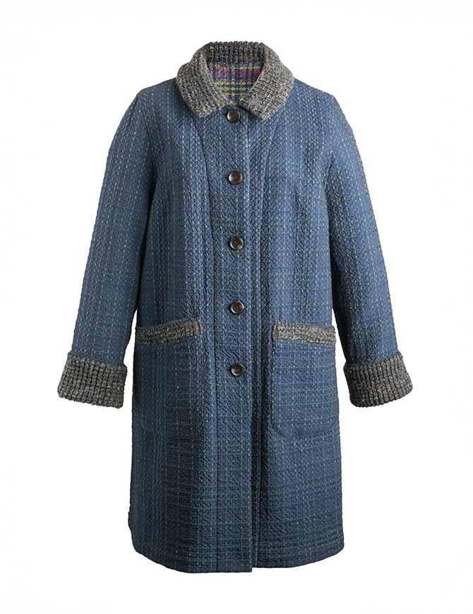 Cappotto M.&Kyoko Kaha reversibile blu a quadri colorati KAHA752W D-BLUE COAT cappotti donna online shopping