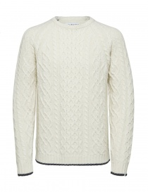 Mens knitwear online: Selected Homme cable knit antique white pullover