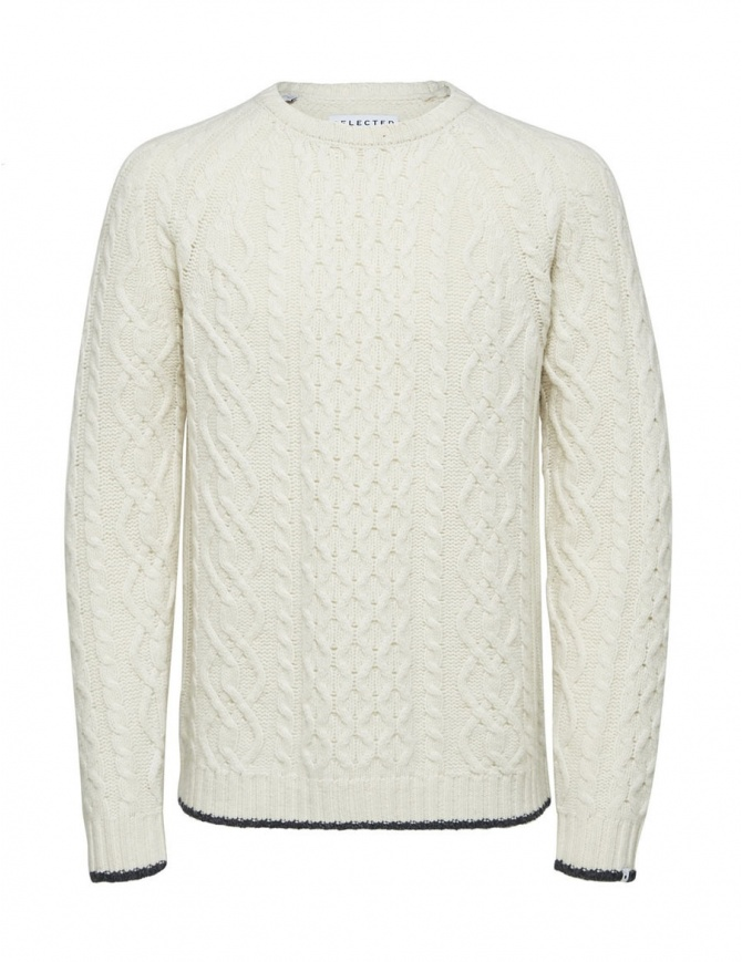 Selected Homme cable knit antique white pullover 16060236 ANTIQUE WHITE mens knitwear online shopping