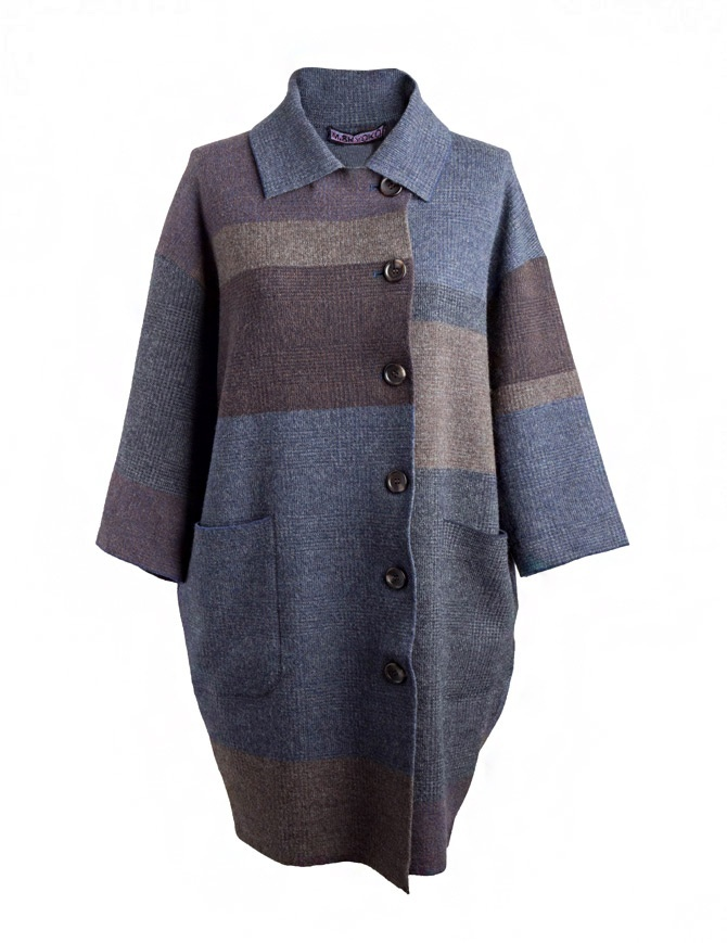 M.&Kyoko egg-shaped brown beige blue striped coat KAHA730W-51 BLUE COAT womens coats online shopping