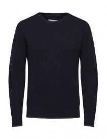 Pullover in lana merino Selected Homme blu navy 16060241-DARK-SAPPHIRE