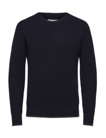 Selected Homme navy blue merino wool pullover 16060241-DARK-SAPPHIRE