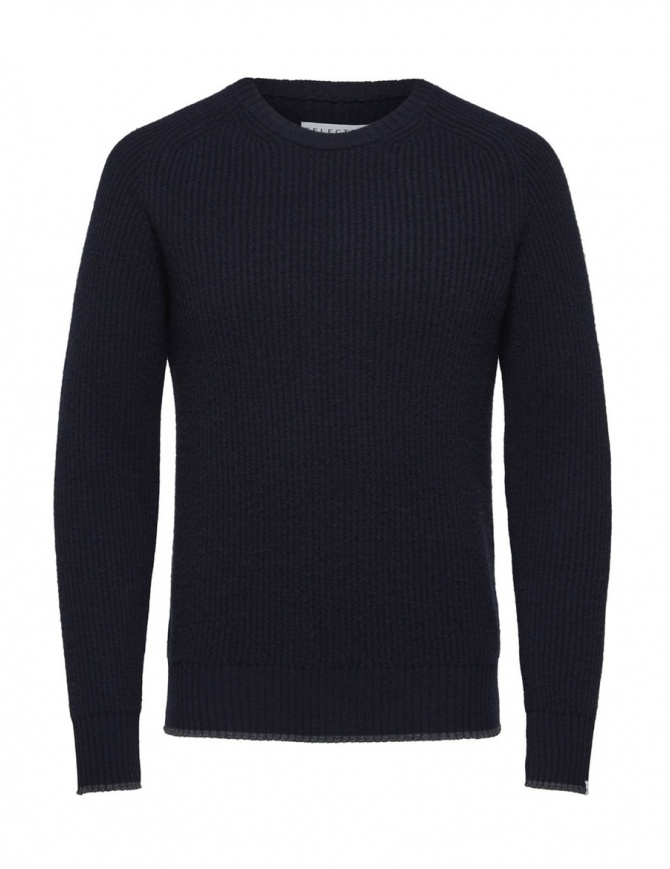 Selected Homme navy blue merino wool pullover 16060241-DARK-SAPPHIRE mens knitwear online shopping