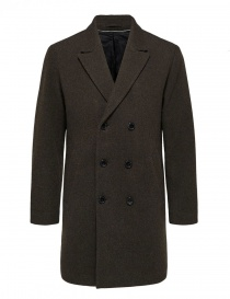 Cappotto doppiopetto Selected Homme marrone scuro online