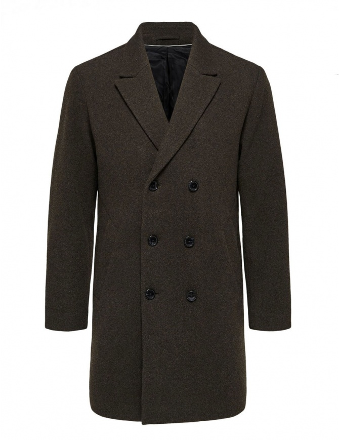 Selected Homme double-breasted dark brown coat 16063083-SLHDRAKE-COAT-B mens coats online shopping