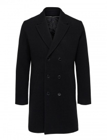 Selected Homme double-breasted black coat 16063083 SLHDRAKE COAT BLK order online