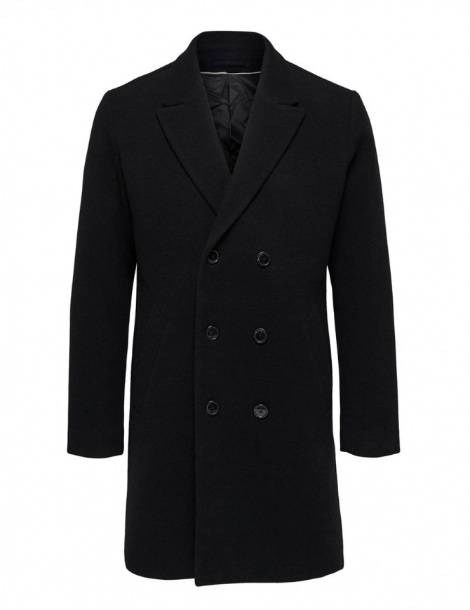 Selected Homme double-breasted black coat 16063083 SLHDRAKE COAT BLK mens coats online shopping