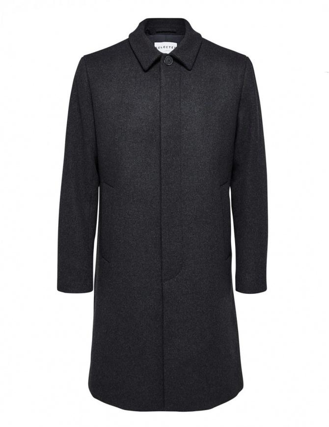 Cappotto Selected Homme grigio colletto a camicia 16064075 GREY MELANGE cappotti uomo online shopping