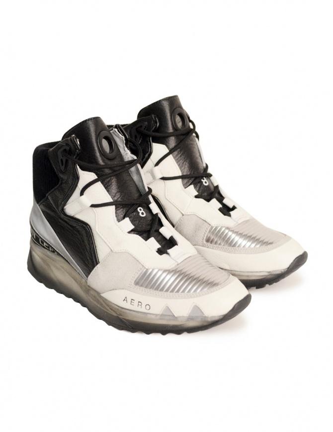 Scarpa Leather Crown alta bianca e nera da donna WAERO-HIG-AERO-DONNA calzature donna online shopping