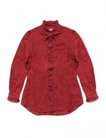 Camicia Kapital rossa di lino con ruffles K1809LS036 RED