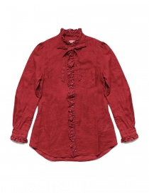 Womens shirts online: Kapital red linen shirt with ruffles